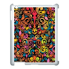 Chisel Carving Leaf Flower Color Rainbow Apple Ipad 3/4 Case (white)