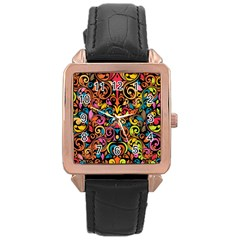 Chisel Carving Leaf Flower Color Rainbow Rose Gold Leather Watch