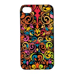 Chisel Carving Leaf Flower Color Rainbow Apple Iphone 4/4s Hardshell Case With Stand by Alisyart