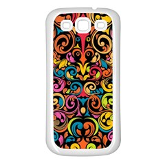 Chisel Carving Leaf Flower Color Rainbow Samsung Galaxy S3 Back Case (white)