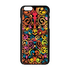 Chisel Carving Leaf Flower Color Rainbow Apple Iphone 6/6s Black Enamel Case by Alisyart
