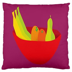 Fruitbowl Llustrations Fruit Banana Orange Guava Large Cushion Case (one Side) by Alisyart
