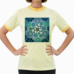 Geometric Flower Stair Women s Fitted Ringer T Shirts by Alisyart