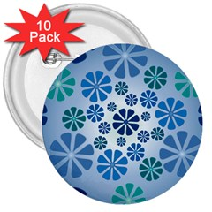 Geometric Flower Stair 3  Buttons (10 Pack)