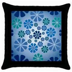 Geometric Flower Stair Throw Pillow Case (black) by Alisyart