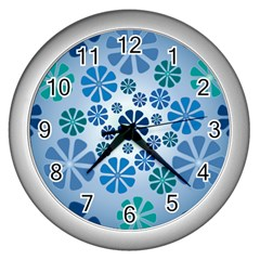 Geometric Flower Stair Wall Clocks (silver)