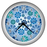 Geometric Flower Stair Wall Clocks (Silver)  Front