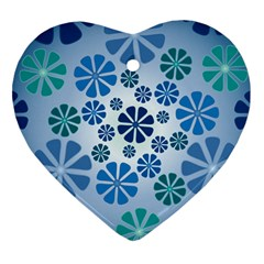 Geometric Flower Stair Heart Ornament (two Sides) by Alisyart