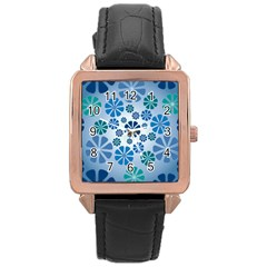 Geometric Flower Stair Rose Gold Leather Watch