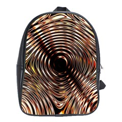 Gold Waves Circles Water Wave Circle Rings School Bags(large)