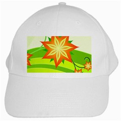 Graphics Summer Flower Floral Sunflower Star Orange Green Yellow White Cap