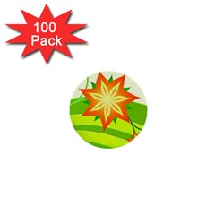 Graphics Summer Flower Floral Sunflower Star Orange Green Yellow 1  Mini Buttons (100 Pack)  by Alisyart