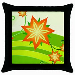 Graphics Summer Flower Floral Sunflower Star Orange Green Yellow Throw Pillow Case (black) by Alisyart