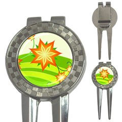 Graphics Summer Flower Floral Sunflower Star Orange Green Yellow 3 In 1 Golf Divots by Alisyart