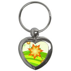 Graphics Summer Flower Floral Sunflower Star Orange Green Yellow Key Chains (heart)  by Alisyart