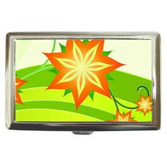 Graphics Summer Flower Floral Sunflower Star Orange Green Yellow Cigarette Money Cases