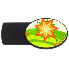 Graphics Summer Flower Floral Sunflower Star Orange Green Yellow Usb Flash Drive Oval (2 Gb) by Alisyart