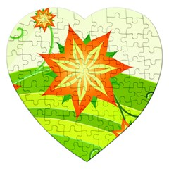 Graphics Summer Flower Floral Sunflower Star Orange Green Yellow Jigsaw Puzzle (heart)