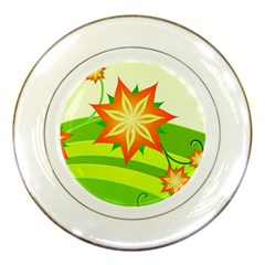 Graphics Summer Flower Floral Sunflower Star Orange Green Yellow Porcelain Plates