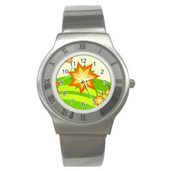 Graphics Summer Flower Floral Sunflower Star Orange Green Yellow Stainless Steel Watch