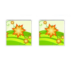 Graphics Summer Flower Floral Sunflower Star Orange Green Yellow Cufflinks (square) by Alisyart