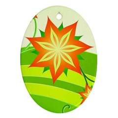 Graphics Summer Flower Floral Sunflower Star Orange Green Yellow Oval Ornament (two Sides) by Alisyart