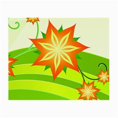 Graphics Summer Flower Floral Sunflower Star Orange Green Yellow Small Glasses Cloth (2 Side) by Alisyart