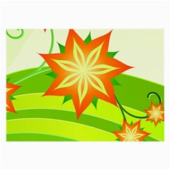 Graphics Summer Flower Floral Sunflower Star Orange Green Yellow Large Glasses Cloth (2 Side) by Alisyart