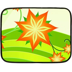 Graphics Summer Flower Floral Sunflower Star Orange Green Yellow Fleece Blanket (mini) by Alisyart