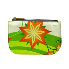 Graphics Summer Flower Floral Sunflower Star Orange Green Yellow Mini Coin Purses