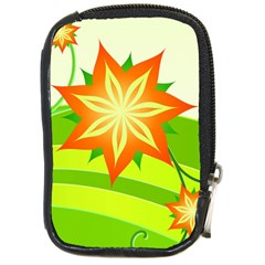 Graphics Summer Flower Floral Sunflower Star Orange Green Yellow Compact Camera Cases by Alisyart