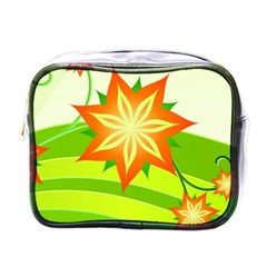 Graphics Summer Flower Floral Sunflower Star Orange Green Yellow Mini Toiletries Bags by Alisyart