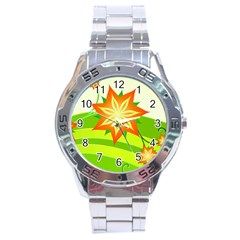 Graphics Summer Flower Floral Sunflower Star Orange Green Yellow Stainless Steel Analogue Watch by Alisyart