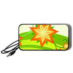 Graphics Summer Flower Floral Sunflower Star Orange Green Yellow Portable Speaker (black)