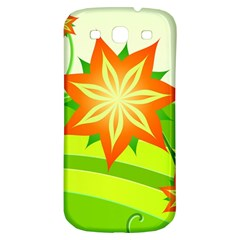 Graphics Summer Flower Floral Sunflower Star Orange Green Yellow Samsung Galaxy S3 S Iii Classic Hardshell Back Case by Alisyart