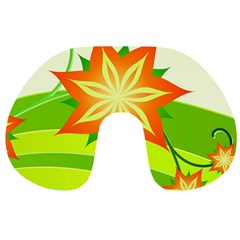 Graphics Summer Flower Floral Sunflower Star Orange Green Yellow Travel Neck Pillows by Alisyart