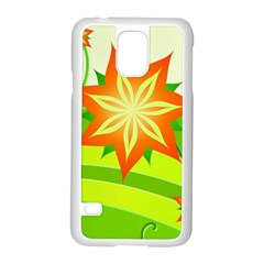 Graphics Summer Flower Floral Sunflower Star Orange Green Yellow Samsung Galaxy S5 Case (white)