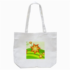 Graphics Summer Flower Floral Sunflower Star Orange Green Yellow Tote Bag (white)