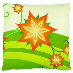 Graphics Summer Flower Floral Sunflower Star Orange Green Yellow Standard Flano Cushion Case (one Side) by Alisyart