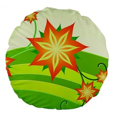 Graphics Summer Flower Floral Sunflower Star Orange Green Yellow Large 18  Premium Flano Round Cushions by Alisyart