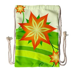 Graphics Summer Flower Floral Sunflower Star Orange Green Yellow Drawstring Bag (large)