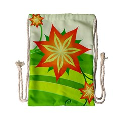 Graphics Summer Flower Floral Sunflower Star Orange Green Yellow Drawstring Bag (small) by Alisyart