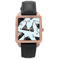 Grown Ups Guide To Underwear Opener Black Blue Rose Gold Leather Watch