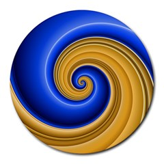 Golden Spiral Gold Blue Wave Round Mousepads by Alisyart