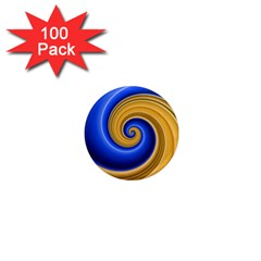 Golden Spiral Gold Blue Wave 1  Mini Magnets (100 Pack)  by Alisyart