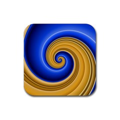 Golden Spiral Gold Blue Wave Rubber Coaster (square)
