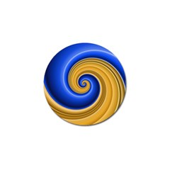 Golden Spiral Gold Blue Wave Golf Ball Marker