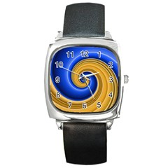 Golden Spiral Gold Blue Wave Square Metal Watch by Alisyart