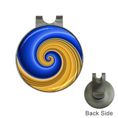 Golden Spiral Gold Blue Wave Hat Clips With Golf Markers by Alisyart