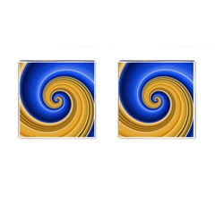 Golden Spiral Gold Blue Wave Cufflinks (square) by Alisyart